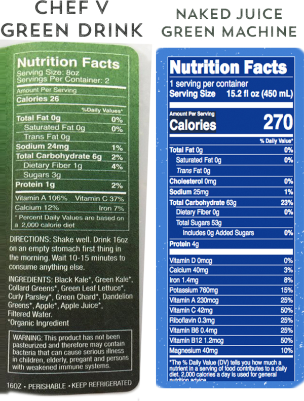 Green Drink comparison nutritional labels