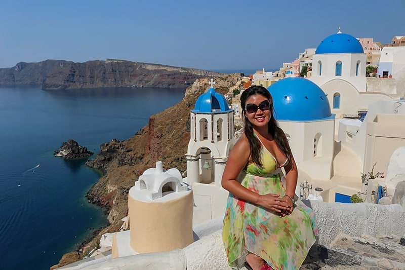Chef V customer Cassandra Yeh in Greece