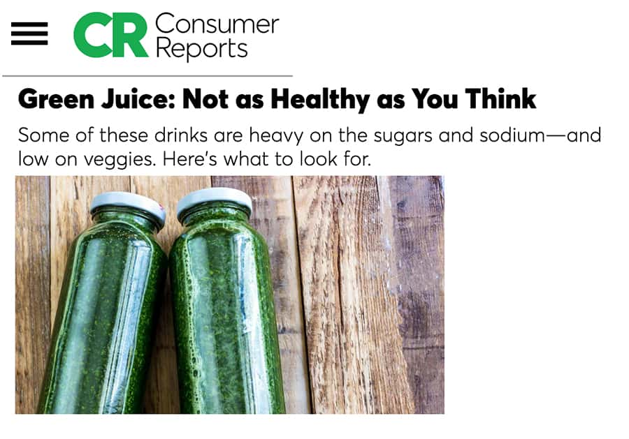Consumer Reports on Green Drink