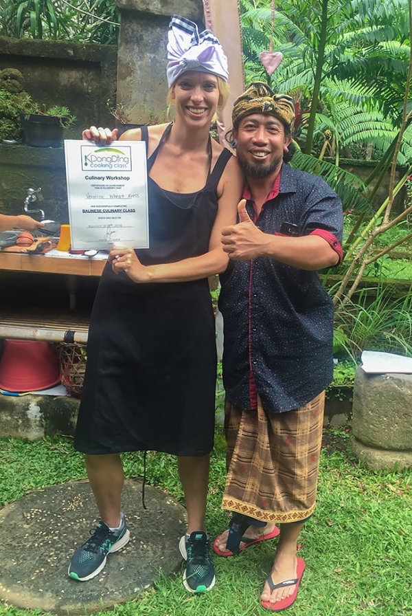 Chef V Veronica Wheat and Balinese cooking teacher