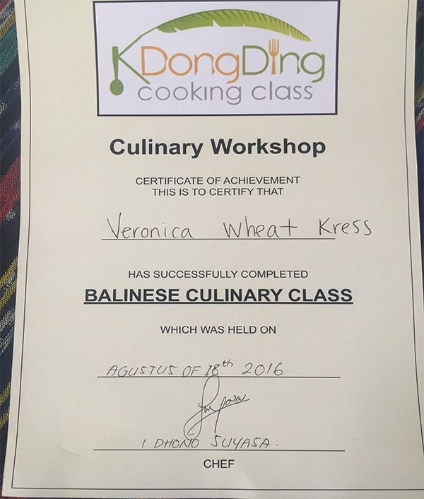 Chef V bali cooking class certificate of completion