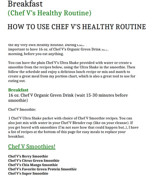 Chef V Healthy Breakfast Guide